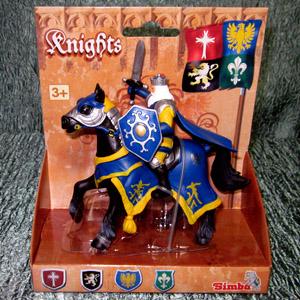 Синий рыцарь на коне. Вид №1.